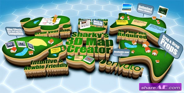 Sharky's 3D Map Creator V1.0 - After Effects Project (Videohive)