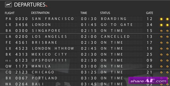 Airport Departure Board 121766 - After Effects Project (Videohive)