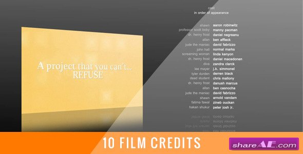10 Film Credits - After Effects Project (Videohive)