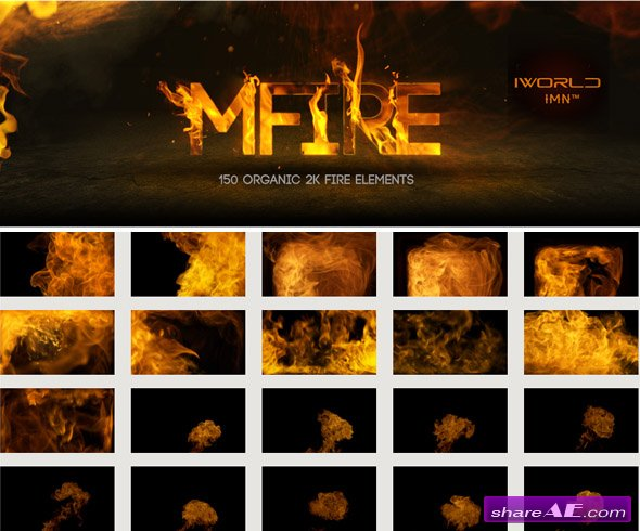 motionVFX: mFire - 150 Organic 2K Fire Elements