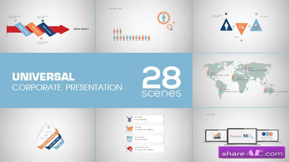 universal corporate presentation - after effects project, Presentation templates