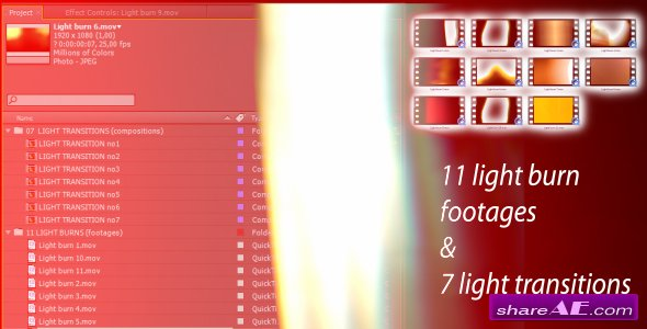 Light transitions & burns (AE CS4 & footages) - After Effects Project (Videohive)