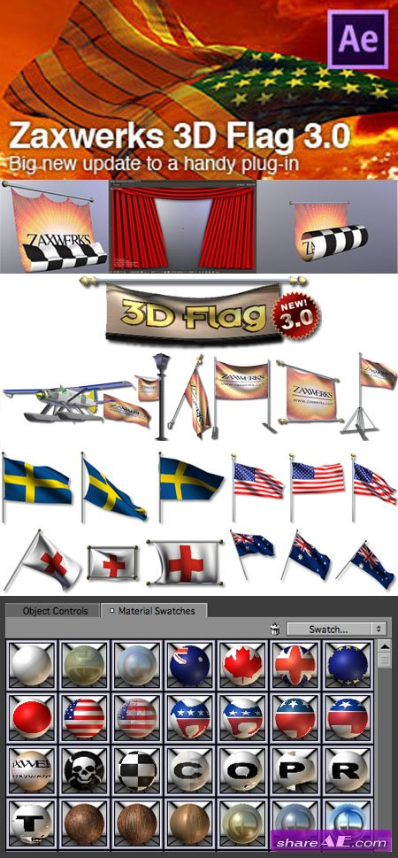 Zaxwerks 3D Flag v3.0.2 for After Effects (WIN)