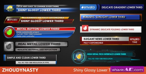 Shiny Glossy Lower Thirds Pack(10 in 1) - After Effects Project ...