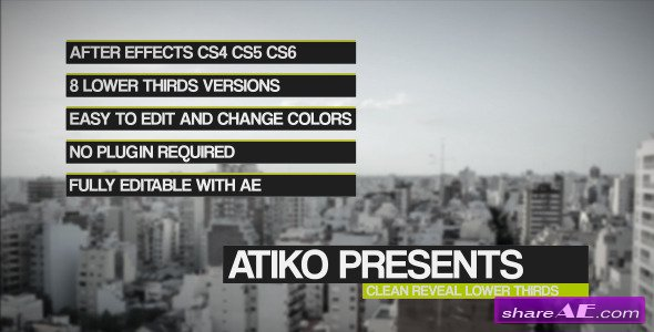 Clean Reveal Lower Thirds - After Effects Project (Videohive)