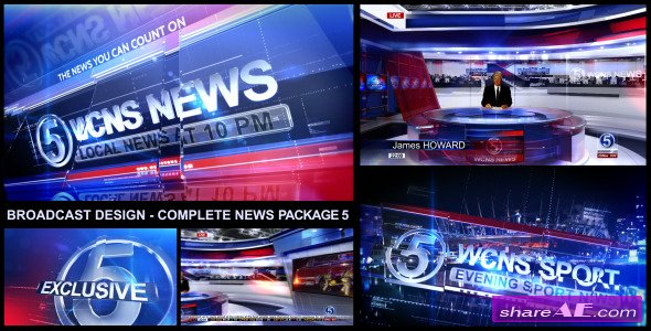 Broadcast Design Complete News Package 5 Videohive Free After Effects Templates