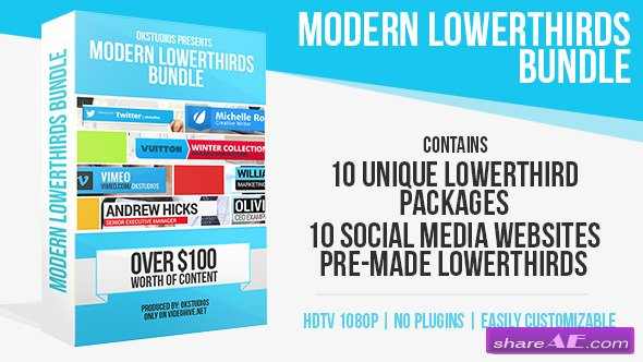Modern Lower Thirds Bundle (10 in 1) - After Effects Project (Videohive)