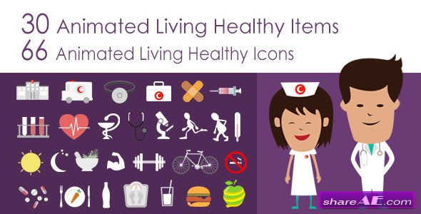 Living Healthy Infographics - After Effects Project (Videohive)