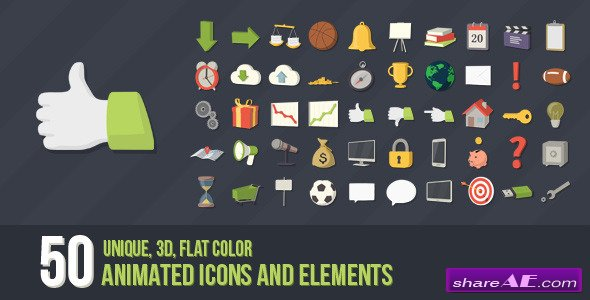 50 Animated 3D Icons for Explaner Video - After Effects Project (Videohive)