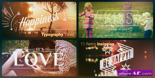 Typography titles | 11 Retro Insignias - After Effects Project (Videohive)