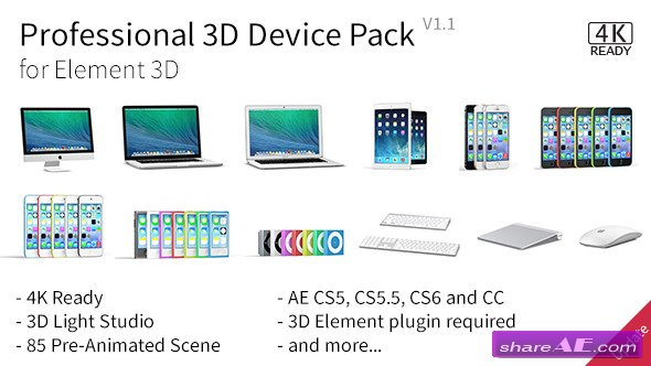 Professional 3D Device Pack for Element 3D - After Effects Project (Videohive)