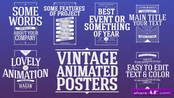 Animated Vintage Posters - After Effects Project (Videohive)