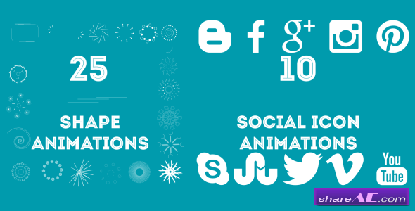 25 Shape and 10 Social Icon Animations - After Effects Project (Videohive)