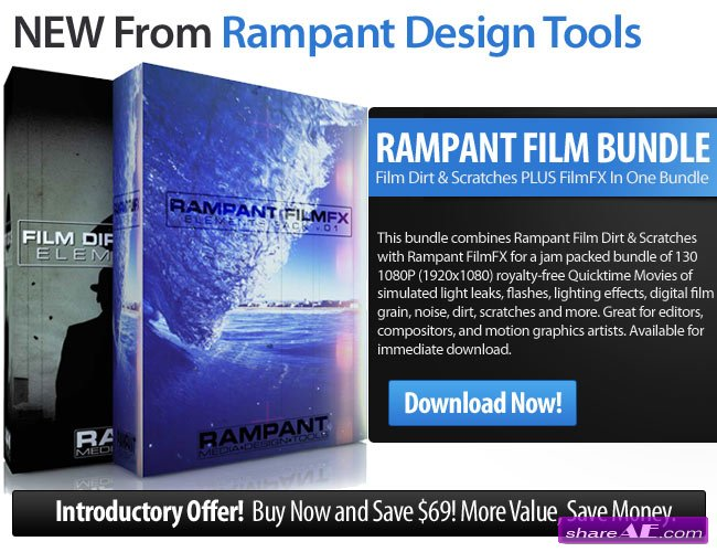 Rampant Film Bundle - Film Dirt & Scratches + FilmFX