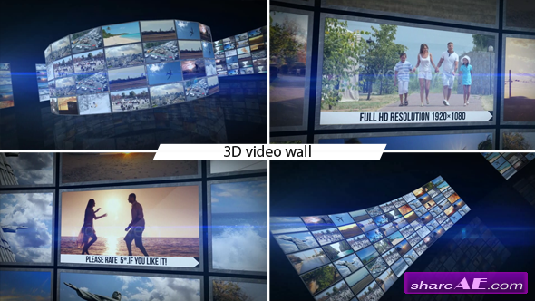 3D Video Wall - After Effects Project (Videohive)