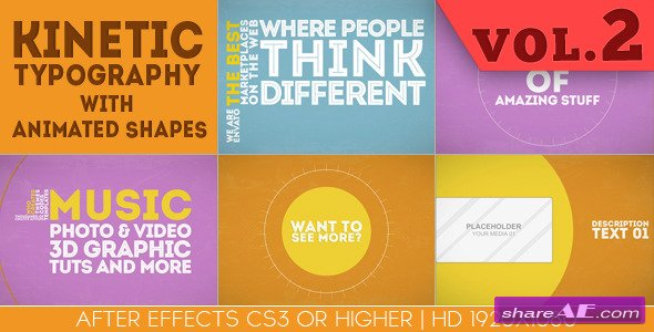 Kinetic Typography With Animated Shapes - After Effects Project (Videohive)