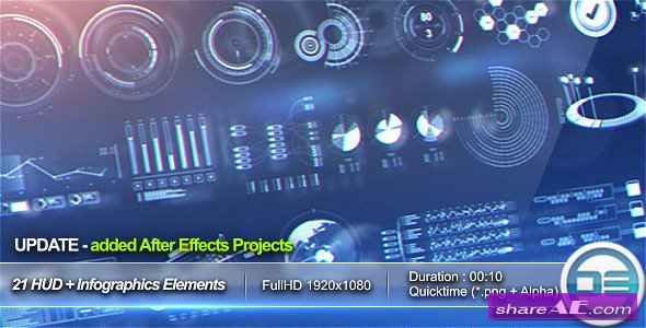 21 HUD & Infographics Elements - After Effects Project (Videohive ...