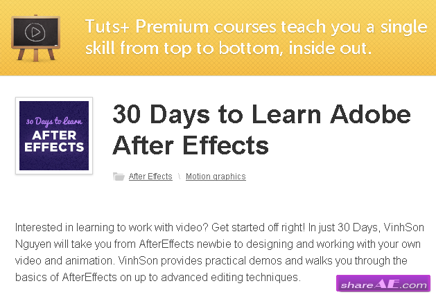 30 Days to Learn Adobe After Effects (TutsPlus.com)