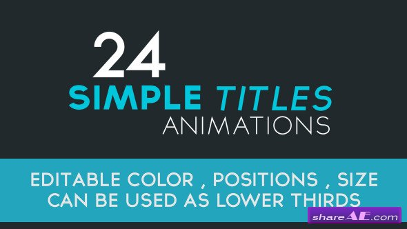 24 Simple Title Animations - After Effects Project (Videohive)