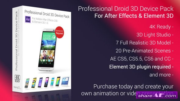 Professional Droid 3D Device Pack for Element 3D - After Effects Project (Videohive)