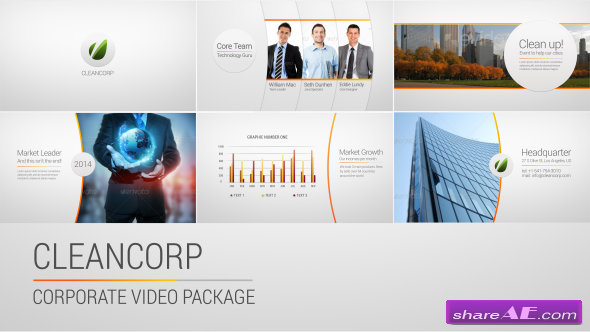 cleancorp - corporate video package - after effects project, Powerpoint templates