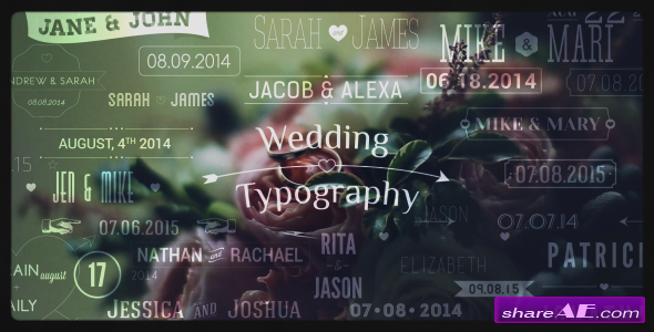Wedding Typography Titles � Dates and Names - After Effects Project (Videohive)