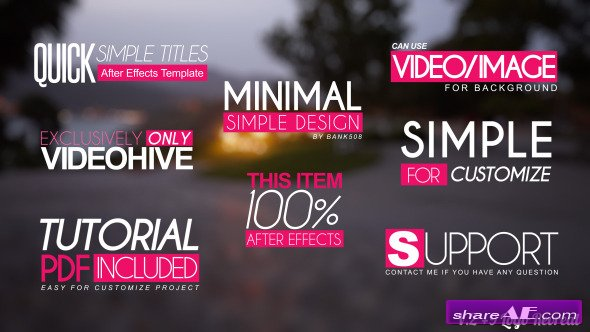 Quick Simple Title Openers - After Effects Project (Videohive)