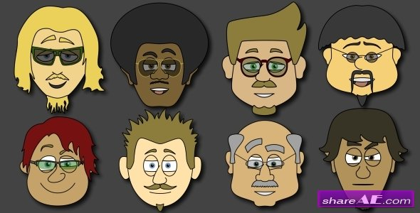 Cartoon Character Creator / Animator (Male Heads) - After Effects Project (Videohive)