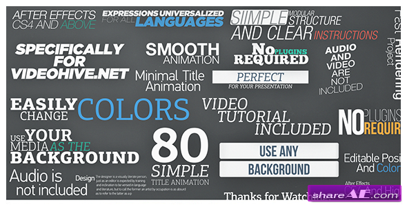 80 Simple Title Animations - After Effects Project
