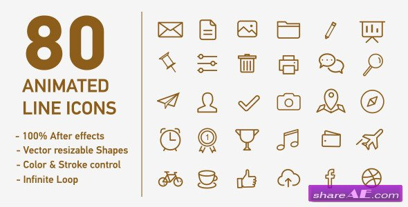 80 Animated Line Icons - After Effects Project (Videohive)