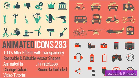 Animated Icons 283 - After Effects Project (Videohive)