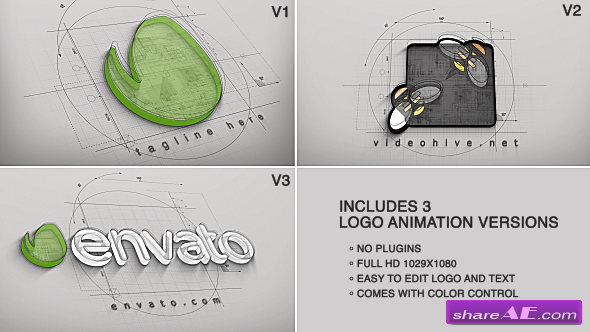 Videohive Architect Logo Reveal (3 versions) - After Effects Project