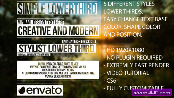 Videohive Simple Lower Thirds - After Effects Project