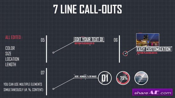 Videohive 7 Line Call-Outs - After Effects Project
