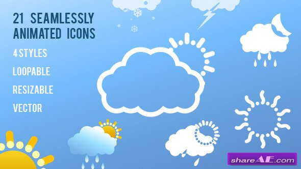 Videohive 21 Animated Weather Icons