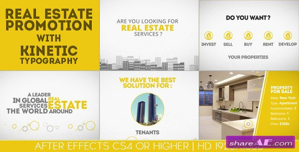 Videohive Real Estate Promotion With Kinetic Typography
