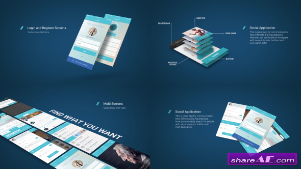 videohive app presentation mockup kit » free after effects, Powerpoint templates
