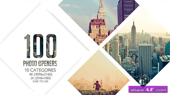 Videohive 100 Clean Photo Openers - Logo Reveal Pack