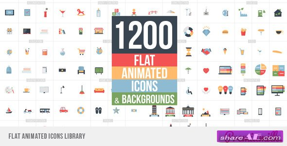 Videohive Flat Animated Icons Library