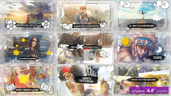 Videohive Watercolor & Doodles SlideShow - After Effects Templates