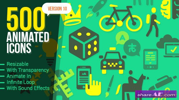 500 Animated Icons Version 10 - After Effects Project (Videohive)