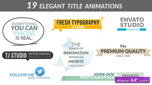 19 Elegant Title Animations - After Effects Templates (Videohive)
