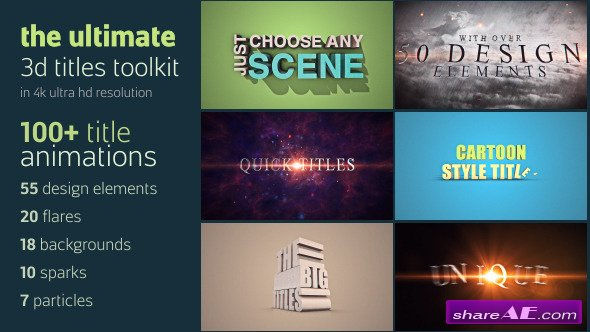 Videohive Ultimate 3D Titles Toolkit - After Effects Templates