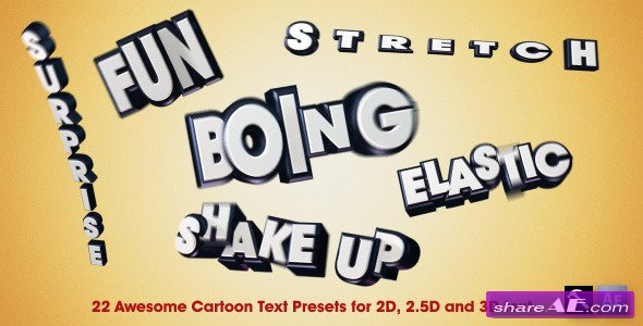 Videohive 22 Awesome Cartoon Text Presets -  After Effects Presets