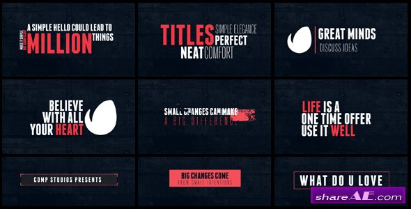 15 Minimal Titles - After Effects Templates (Videohive)