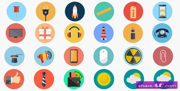 Flaticons Animated Flat Icon Library - Videohive