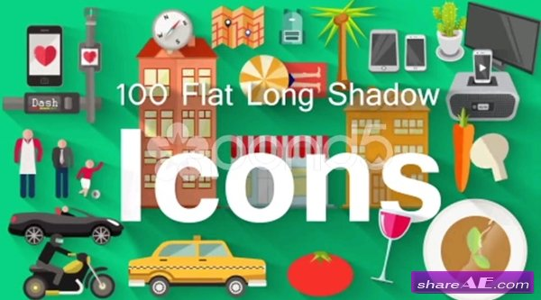 100 Flat Long Shadow Icons - After Effects Templates (Pond5)