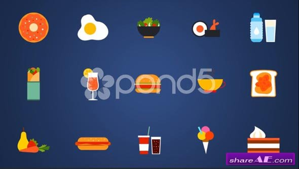54 Animated Icons With Food  Only Shapes - After Effects Templates