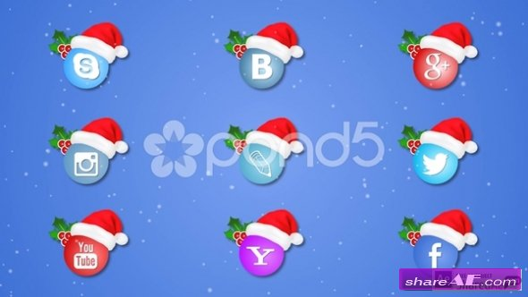 Social Icons Christmas - After Effects Templates (Pond5)