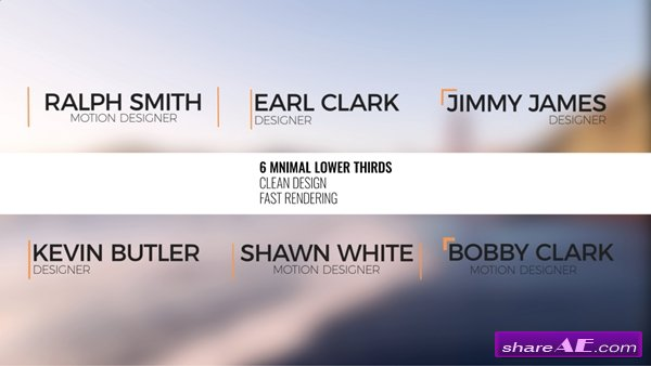 6 Minimal Lower Thirds - After Effects Template (Pond5)